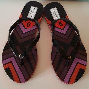 Kate Spade Flip Flops, Black, Aztec Print Size 6